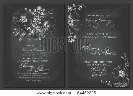 Set of two templates for cards or invitations. Black and white. Chalk drawing on blackboard. Vector illustration. Pointillism style.