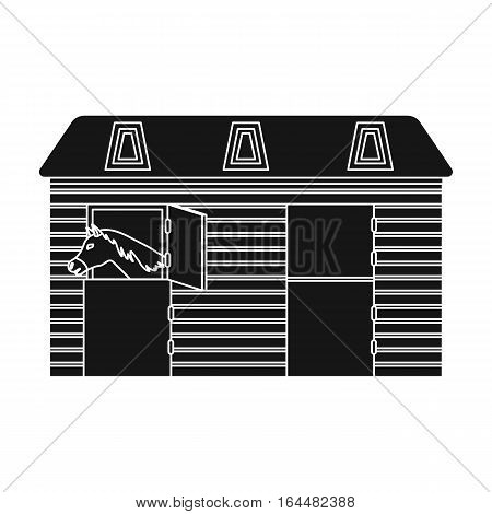 Horse stable icon in black design isolated on white background. Hippodrome and horse symbol stock vector illustration.