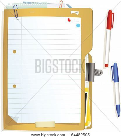 An illustration of a typical card document folder and pens. Plenty of blank space for your own message.
