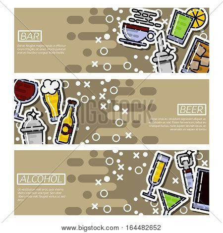 Set of Horizontal Banners bar isolated vector illustration