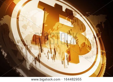 Bitcoin Cryptocurrency Concept 3D Rendered Illustration. Bitcoin Trading Conceptual Illustration.