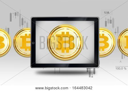 Bitcoin Mobile Trading Concept Illustration with 3D Rendered Elements. Bitcoin Market Value