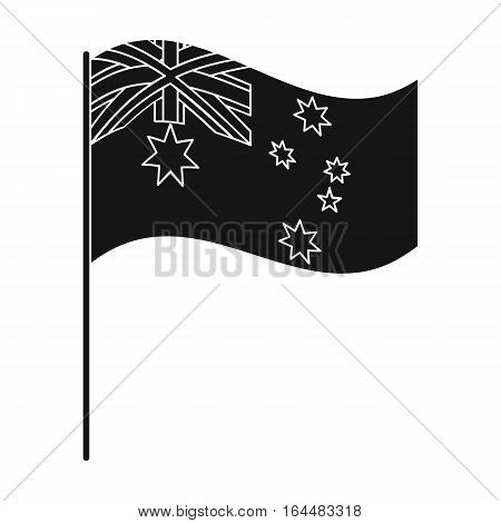 Australian flag icon in black design isolated on white background. Australia symbol stock vector illustration.