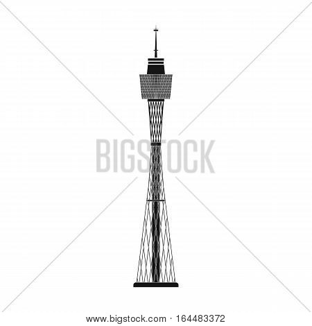 Sydney Tower icon in black design isolated on white background. Australia symbol stock vector illustration.