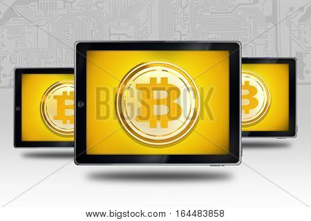 Buying Selling Bitcoin Concept. Tablet Computers with Bitcoin Symbols Illustration with 3D Rendered Elements. Bitcoin Currency.
