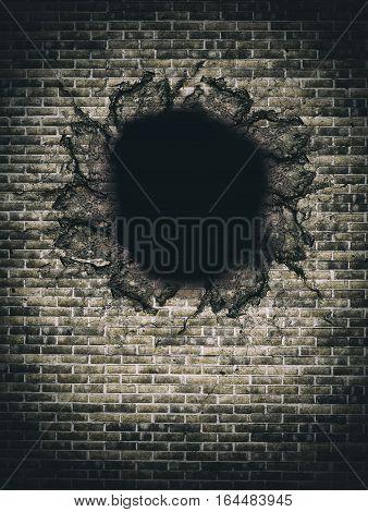 3d rendering of big hole in beige brick wall. Vertical outdoors shot