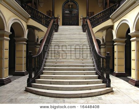 Colonial staircase in Lima Peru