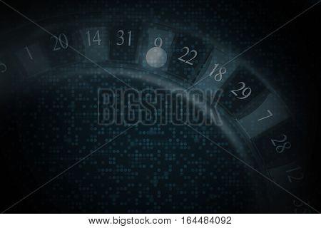 Casino Roulette Dark Background Illustration. Casino Gambling Backdrop.
