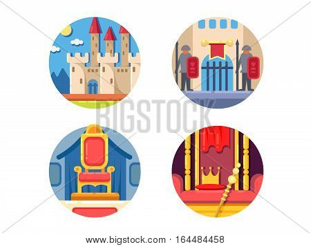 Medieval kingdom set. Stone castle with guards at gate. Vector illustration