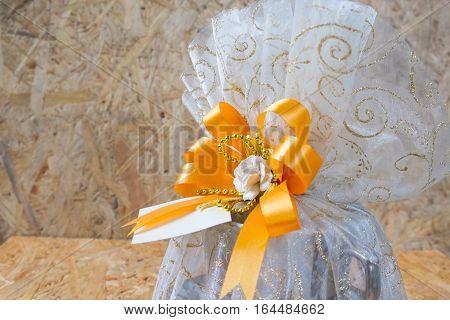 Thai wedding souvenir on wood background, Thai style wedding