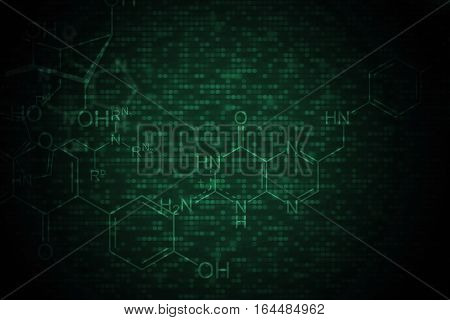 Dark Chemical Background. Biotechnology and Chemical Science Abstract Backdrop.
