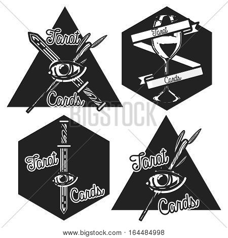 Hand drawn vintage taro cards emblems with mystic symbols. Vector illustration, EPS 10