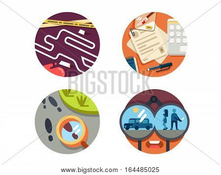 Detective icon set. Crime scene and search for criminal on trail. Vector illustration