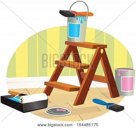 A detailed image of some small wooden steps and painting equipment.