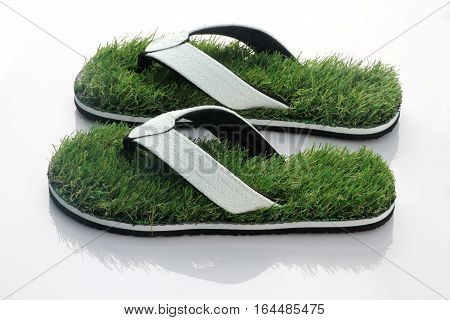 Nature's Walk - Slipper with Green Grass