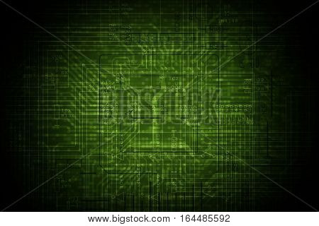Dark Green Electronic Circuit Background. Circuit Board Backdrop.