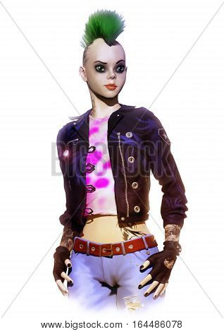 3D illustration of the fashionable woman in style the punk