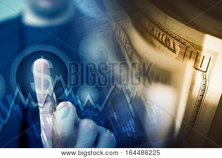 Forex Player Choosing American Dollar by Touching US Dollar Sign Concept Illustration with Dollar Banknotes.