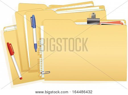 A stack of typical office card document folders.