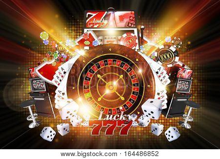 Shiny Illuminated Casino Concept Illustration on Black Background. Lucky Casino Games Concept.