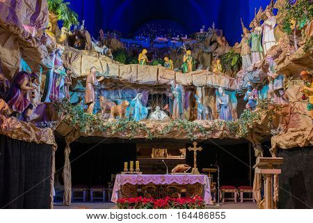 Poznan POLAND - JANUARY 8 2017: Probably Europe's largest floating Christmas crib - Christmas Manger in the Franciscan Monastery in Poznan