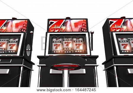 Isolated Slot Machines 3D Render Illustration. Casino Lucky Slot Games.