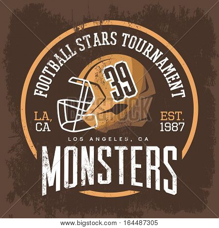 American football helmet with face mask emblem or rugby cap badge. T-shirt print for los angeles tournament, athletic clothing branding or advertising. Competition logo or sport club banner, man fashion