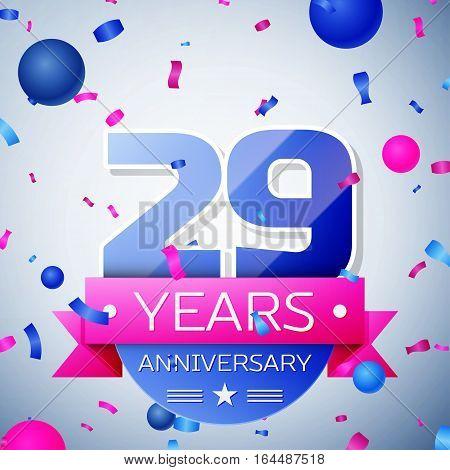 Twenty nine years anniversary celebration on grey background. Anniversary ribbon