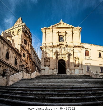 Church and palace in Noto sicily - Italy