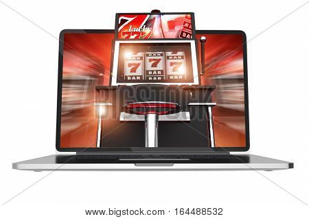 Online Slot Machine Games. Casino Online Concept 3D Render Illustration Isolated on White Background. One-Handed Bandit Slot Machine on the Computer Screen.