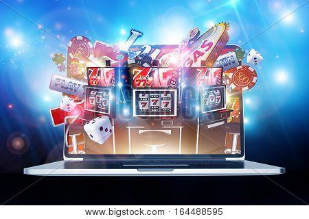 Online Casino Gambling Concept 3D Render Illustration. Las Vegas Casino Games on the Internet. Laptop Computer Concept.