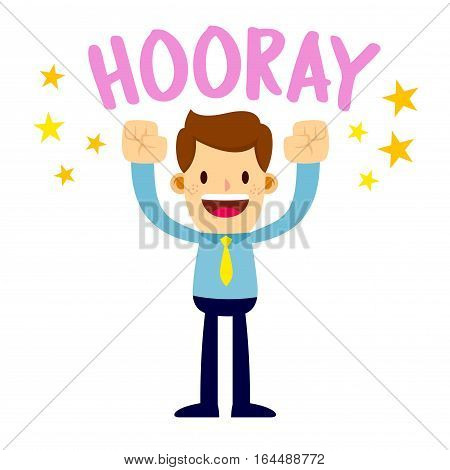 Vector stock of a businessman shouting hooray with joy