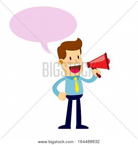 Vector stock of a businessman talking through a loud speaker