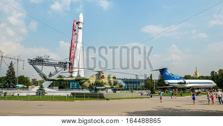 MOSCOW, RUSSIA - July 29, 2016. Vostok Rocket and soviet era aeroplane at the VDNKh