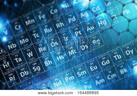 Periodic Table Blue Background 3D Render Illustration. Science Abstract Backdrop.