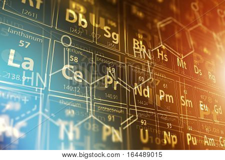 Periodic Table Science Concept 3D Rendered Illustration. Chemistry Theme.