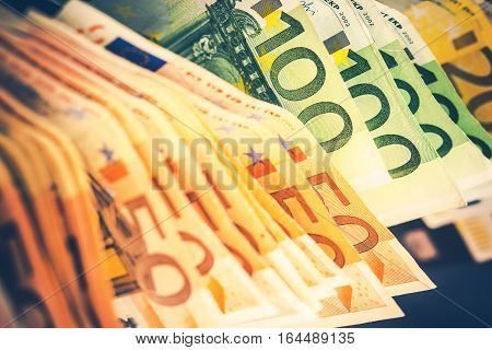 Pile of Euro Banknotes. European Currency Cash Money. Colorful Euro Bills