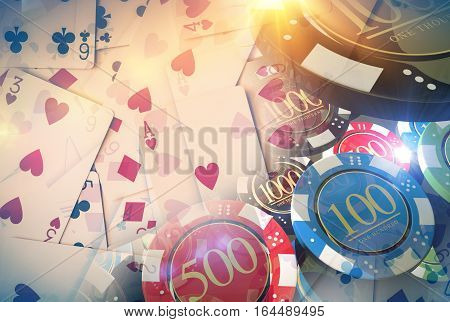 Poker Game Illustration Concept with Poker Cards and Casino Chips.
