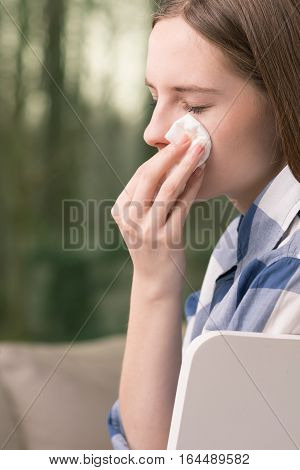 Girl Wiping Tears With Tissue