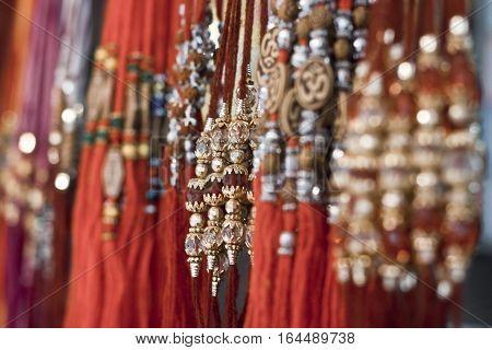 Rakhi on the store for sale on the day of Rakshabandhan.