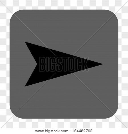 Arrowhead Right interface toolbar button. Vector icon style is a flat symbol on a rounded square button black and gray colors chess transparent background.