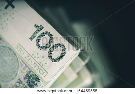 Pile of Polish Zloty Cash Money. Polish Currency Business and Financial Concept Photo. Zloty Banknotes.
