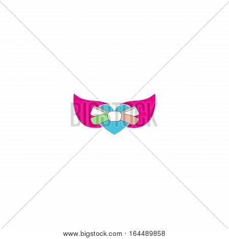 Love heart logo isolated on a white background.