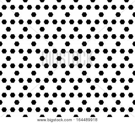 Vector monochrome seamless pattern. Simple modern geometric texture with hexagons. Endless illustration with hexagonal grid lattice. Repeating black & white abstract background. Design for prints, decoration, textile, furniture, fabric, cover, digital, we