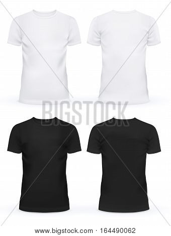 Black and white blank t-shirt clothing design. New sport unisex textile form with u-neck collar for man and woman. Advertising or ads template on cloth and fashion theme
