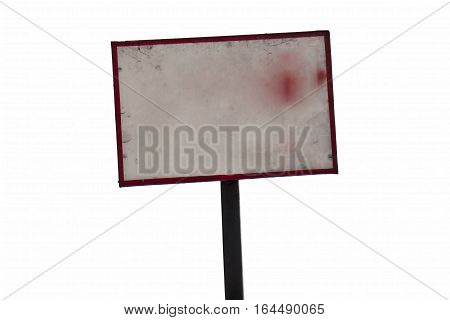 street sign board & street light poles isolated on white.