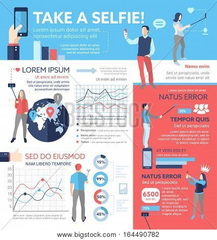 Take a selfie - info poster, brochure cover template layout with flat design icons, other infographic elements and filler text