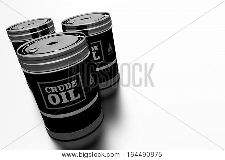 Three Crude Oil Barrels 3D Rendered Illustration. Oil and Refinery Concept.