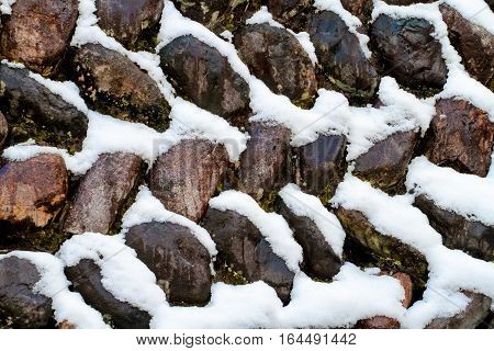 snow on the stone Abstract winter texture background of Stones and snow and ice in nature pattern.