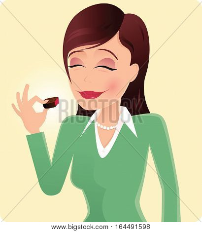 An illustration of a woman enjoying some candy.